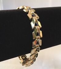 RARE! Vintage Aurafin 14K Solid Yellow Gold Woven Link Bracelet Italy 10.7mm