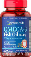 Puritan's Pride Omega-3 Fish Oil 1000 mg Contain 300 mg EPA DHA MADE IN USA