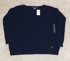 New $89 RALPH LAUREN Women's SMALL Sweater cableknit NAVY BLUE scoop neck loose