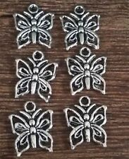 Wholesale 16pcs Tibet silver Butterfly Charm Pendant beaded Jewelry Findings
