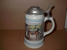GERZ STEIN WITH PEWTER LID! OLD WESTERN SCENE MADE IN GERMANY STEINS HERE! LOOK!