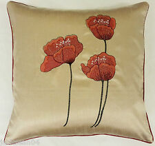 """2 X FILLED POPPY RED CREAM FAUX SILK FLORAL 18"""" EMBROIDERED CUSHIONS"""