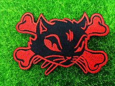 New Cat Cross Bone Skeleton Lady Rider Biker Patch Embroidered Sew Iron on patch