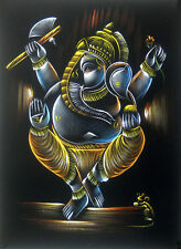 "Divine Ganesha Painting on Velvet Cloth Best Price Home Decor India   20""x27"""