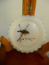 VINTAGE,SMALL HANDPAINTED MILK GLASS PLATE, BIRD SITTING ON PUSSYWILLOW BRANCHES