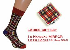 Ladies Tartan Socks & Handbag Mirror Inspired by Scotland Royal Stewart design