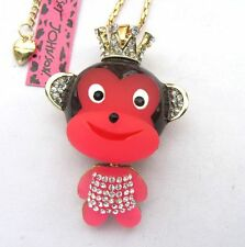Betsey Johnson shiny crystal enamel Pink monkey pendant Necklace