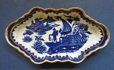 EARLY WORCESTER BLUE & WHITE PORCELAIN SPOON TRAY - FISHERMAN PATT. - C.1770