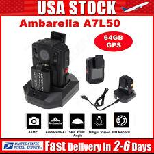 140° Ambarella A7L50 Police Body Worn Camera 64GB+GPS DVR HD 1296P Night Vision