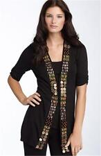 Nanette Lepore 1000 TEMPLE Black Beaded Embellished Cardigan Sweater XS 2 4 $298