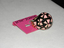 Betsey Johnson Black & Pink Enamel Dome Adjustable Ring NWT