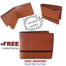 MEN'S Genuine Leather Flip Wallet Brown 12 Credit Cards 2 Cash 2 Receipt ID SIM