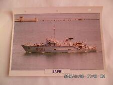 CARTE FICHE NAVIRES DE GUERRE SAPRI 1984 CHASSEUR DE MINES