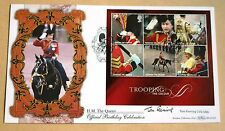 TROOPING THE COLOUR M/S 2005 BENHAM FDC SIGNED  BROADCASTER & ACTOR TOM FLEMING