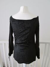 Black velvet gypsy top 6 peasant blouse goth steampunk grunge 90s long sleeved