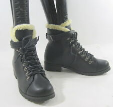 """New Blacks 1.5"""" low heel combat lace up top furl sexy  ankle boot size  9"""