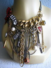 BETSEY JOHNSON VINTAGE SCHOOL GIRL CHAIN FRINGE CHARM STATEMENT NECKLACE~RARE