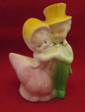 "Young Boy & Girl Couple in Victorian Dress Planter 5"" tall Vintage"