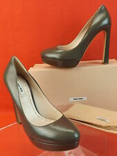 NIB MIU MIU PRADA OLIVE GREEN LEATHER CLASSIC PLATFORM PUMPS 40 9 ITALY