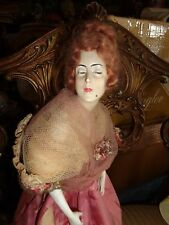 VINTAGE ART DECO FRENCH LACE BOUDOIR FIGURAL LADY HALF DOLL NIGHT LIGHT LAMP