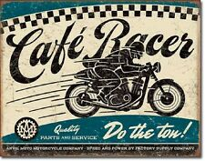 Cafe Racer TIN SIGN metal poster garage vtg motorcycle racing ad wall decor 2033