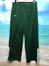 Under Armour Mens Medium Green Athletic Pants All Season Loose Fit Zippered #630