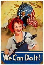 We Can Do It Pin Up Girl Vintage Distressed Military Metal Sign Man Cave BVL007