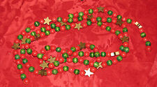 Vintage Wooden Red and Green Bead Christmas Garland Gold Stars 8 Feet