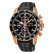NEW MENS SOLAR SEIKO SPORTURA ROSE GOLD ALARM CHRONOGRAPH SAPPHIRE WATCH SSC274
