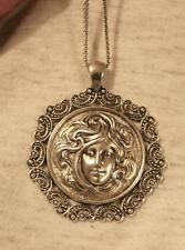 Lovely Paisley Swirl Rim Flowing Hair Face of Goddess Silvertne Pendant Necklace
