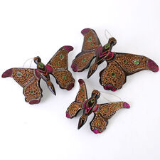 Three Wooden Decorative Hanging Butterfly Ornaments with Glitter Detail * Gift