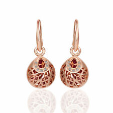 New 18K Rose GOLD Filled Vintage Filigree Drop Earrings With CRYSTAL