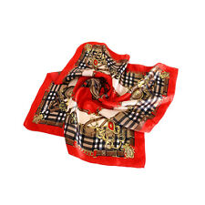 "Elegant Silk Feel Plaid with Chains Design Satin Square Scarf 20"" - Diff Colors"