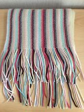 Tu Multi Coloured Wooly Scarf Pink Cream Turquoise Striped