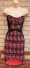 FIGA TRIBAL AZTEC VELVET PINK BLACK BANDEAU CORSET BODYCON TUBE PENCIL DRESS S