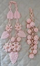 VINTAGE PINK ART DECO CELLULOID FILIGREE LEAF BALL NECKLACE BRACELET SET