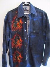 Wrangler Black w/ Cowboy Horse Graphics Style L/S Pearl Snap Front Top! Sz L!