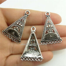 18458 10x Filigree Antique Tibetan Silver European Triangle Pendant for Earrings