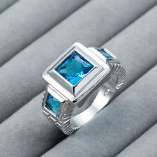Fashion Jewelry Light sapphire gemstone 925 sterling silver Ring M400 Size 7