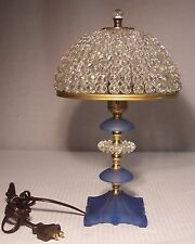 Vtg Old Art Deco Dome Prism Sky Blue Brass Clip On Shade Lamp Rewired USA #D70
