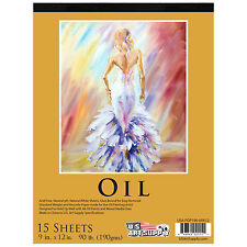 "9"" x 12"" Premium Heavy-Weight Oil Painting Paper Pad 90lbs (190gsm) 15-Sheets"