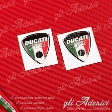 2 Adesivi Resinati Sticker 3D Ducati Corse Old Tricolore Italia 50 mm