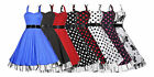 Ladies 40s 50s Vintage Style Cotton Rockabilly Swing Jive Prom Dress New 8 - 26