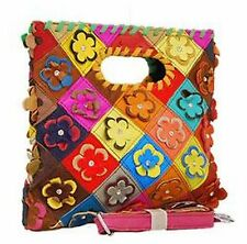 Multi-Color Floral Leather Rainbow Flower Patchwork Handbag Clutch Crystal Purse