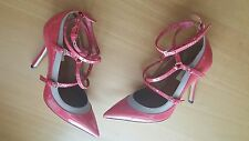 Valentino NIB $995 love latch ankle strap coral shoes EU 37 US 7