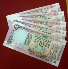 10 rs ~~ R N MALHOTRA ~~ peacock back ~~ 5 SERIAL NOTES ~~ D-37 ~ B INSET ~ UNC
