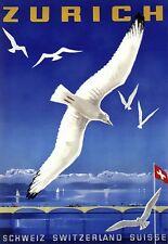 Art Print Zurich Switzerland Suisse Travel Poster Print