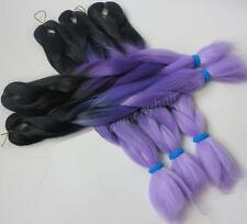 "1 x Pack Black & Purple 24"" Ombre Dip Dye Kanekalon Braiding Hair Extensions UK"