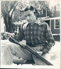 1959 Well Dressed Hunter Cleans Double Barrel Shotgun Press Photo