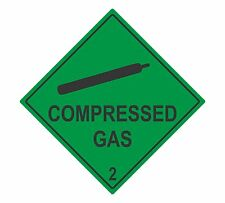Green Compressed Gas self adhesive vinyl business sticker health & safety